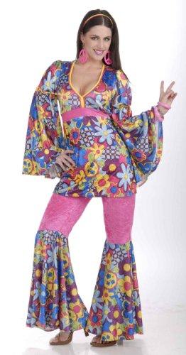 Forum Novelties Women's 60's Revolution Hip Flower Child Go-Go Costume, Multi, (Costumes Of The 60s)