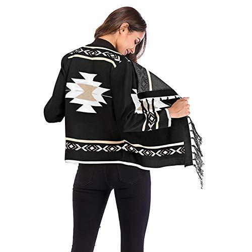 en motif W avec Colorblock géométrique Cardigan franges manches longues tt l Manteau beige à Noir châle tricot à qnXvrXwY