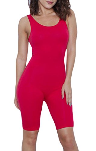 H&E Womens Sexy Summer Sport Backless Short Jumpsuits Bodysuits red (716 Entrance)