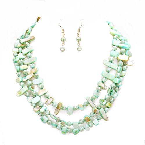 Chunky Statement Green Abalone Shell Layered Strand Beads Statement Necklace Earrings Set Women Jewelry (Green)