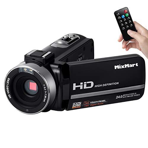 MixMart Videocámara, Camcorder FHD 1080p con 30FPS 24MP Zoom Digital 16X IR Visión Nocturna Digital Videocámara con...