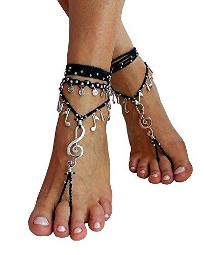 Seraih Fashion Women's Boho Wrapped ankle Music Barefoot Sandal Jewelry 2 Pcs (Bare Sandal)