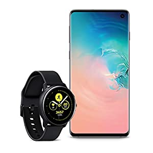 Samsung Galaxy S10 Factory Unlocked Phone with 128GB, (U.S. Warranty) – Prism White with Galaxy Watch Active (40mm), Black – US Version with Warranty