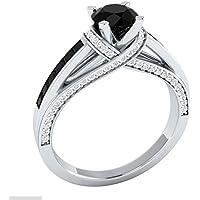 Women 925 Silver Jewelry Round Cut Black Sapphire Fashion Wedding Ring Size 6-10#by pimchanok shop (7)