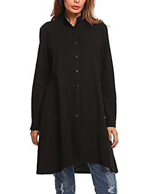 Zeagoo Women's Loose Long Sleeve Swing Buttons Tunic Knee Length Top Blouse