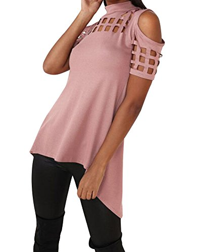4 Girls Fitted T-shirt (Women's Slashed Ripped Cutout Hollowed Out Clubwear Party Shirt Stretchy Blouse Top (US 4-6 / Label S, Short Sleeve Pink))