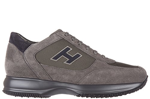 Hogan chaussures baskets sneakers homme en daim interactive h flock gris