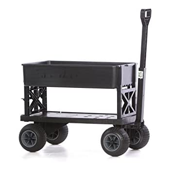 Mighty Max Cart Plus One All Purpose Utility And Garden Cart With Black Tub  And