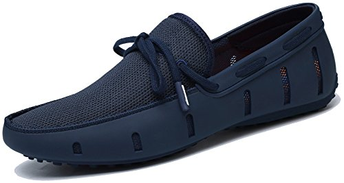 Adadila Men's Classic Braided Lace Loafer Breathable Slip On Ultra Light Shoes Navy 45