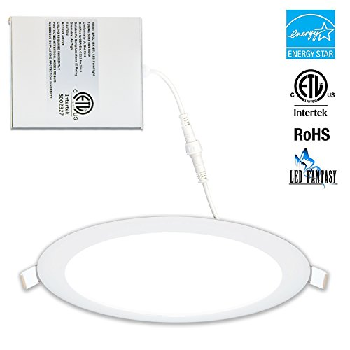LED FANTASY 8-Inch 18W 120V Recessed Ultra Thin Ceiling LED Light Retrofit Downlight Wafer Panel Slim IC Rated ETL Energy Star 1260 Lumens (5000k, 8 Inch)