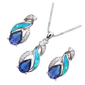 Hermosa Opal Jewelry Set Women Pendant Necklace Stud Earrings Sapphire Rainbow Mystic Topaz with 18″ Chain