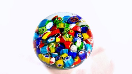 (Tripact Inc M Design Art Handcraft Snow Mix Millefiori Art Glass Paperweight PW-1132)