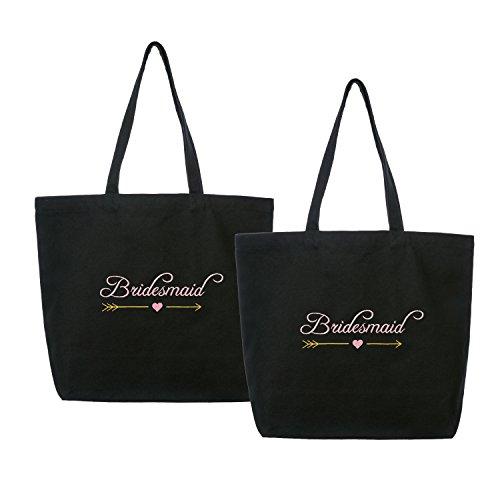ElegantPark Bridesmaid Wedding Tote Bachelorette Gift Shoulder Bag Black with Pink Embroidered 100% Cotton 2 Pcs
