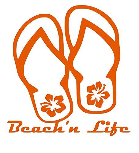 UR Impressions IOrn Beach'n Life Hibiscus Flip Flop Decal Vinyl Sticker Graphics for Cars Trucks SUV Vans Walls Windows Laptop|Intense Orange|5.5 Inch|URI478-IO (Best Io Paper Io)