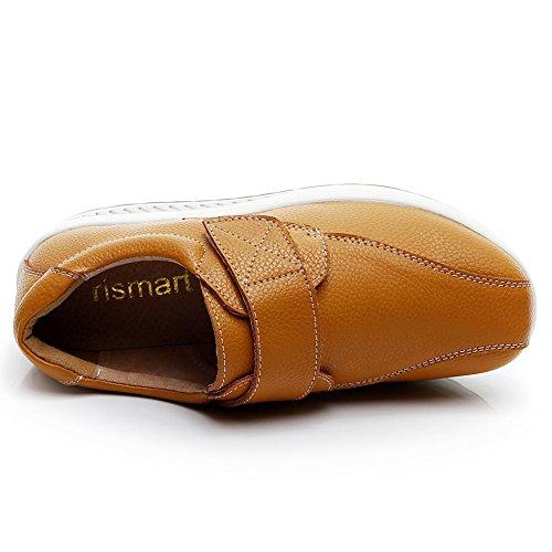 Chaussures Femme Mode Cuir Coin amp;Boucle Bronzer Mignon rismart Baskets Entraîneur Crochet Confortable RvwRd8