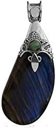 Labradorite Pendant with Turquoise - Sterling Silver