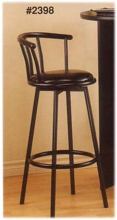 TWO SATIN BLACK SWIVEL BAR STOOLS