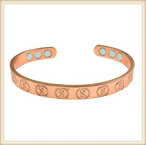 Copper Bracelet with Yin Yang Design and 6 Magnets, Cures Joint Pain, Great Natural Remedy Relief, Aid for Men or Women. Severe Arthritis Pain Relief Healing Therapy Bangle by -