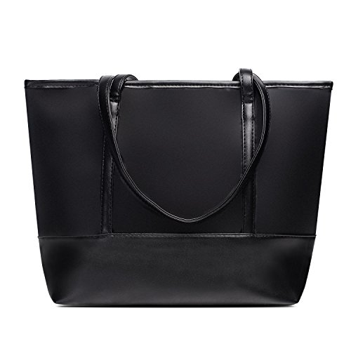 Vintga Large Fashion Totes Bag Shoulder Bag Top Handle Satchel Handbag Purse for Women (Black Splicing) by Vintga