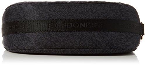 Borbonese Hobo con T, Borsa a Tracolla Donna, 34x30x12 cm (W x H x L) Nero