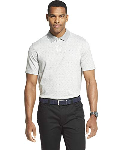 Van Heusen Men's Flex Short Sleeve Stretch Print Polo Shirt, Grey Gargoyle, Small