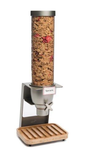 Rosseto EZ545 EZ-SERV Single Container Table-Top Cereal Dispenser with Bamboo Tray, 1.3-Gallon Capacity, 9