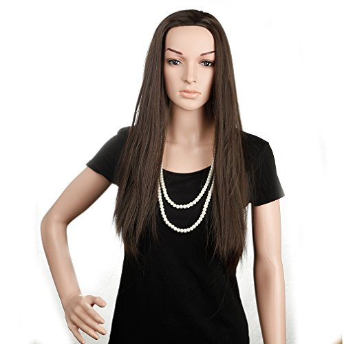 Heat Resistant Synthetic Wig 3/4 Dip Dye Ombre Half Wigs Japanese Kanekalon Fiber 21 Colors Long Curly Wavy Wave Straight 25'' / 65cm Wig for Lady (25''/65CM(Straight), medium brown)