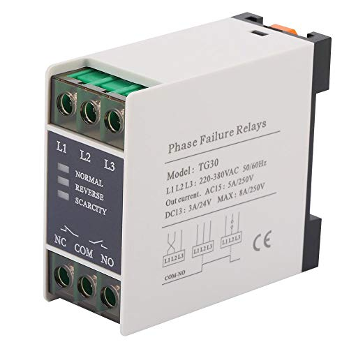 WAL FRONT TG30 3-Phase Phase Sequence Relay Phase Failure Loss Protection 220-380VAC ()