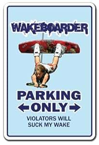 "WAKEBOARDER Sign wake board surf beach hawaii surfing surf waves | Indoor/Outdoor | 12"" Tall"