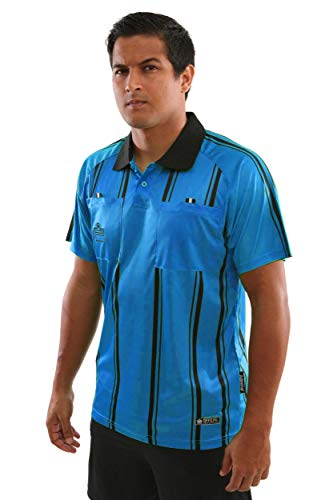 Admiral Short Sleeve Pro Soccer Referee Jersey, Blue/Black, Adult Small ()