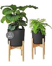 Gadgy Plantenstandaard Binnen   Set van 2 Verstelbare Houten Bloempot standaard   Duurzaam Bamboe   Voor Potten Variërend Ø 20-30 cm.   Pot & plant niet inbegrepen