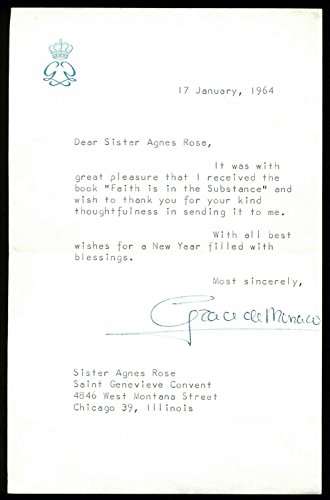 Grace Kelly Signed 5.25x8.25 1964 Letter On Personal Stationary #AE00426 - PSA/DNA - Personal Letter Signed