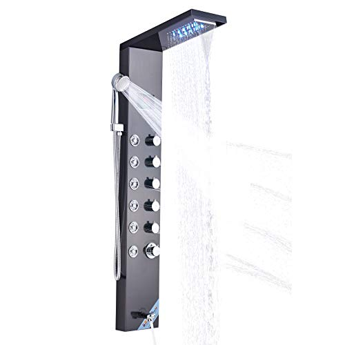 l Waterfall Dual Style Stainless Steel Oil Rubbed Bronze Finish Massage Multi-Function Bathroom Shower Panel Tower System with LED Light ()