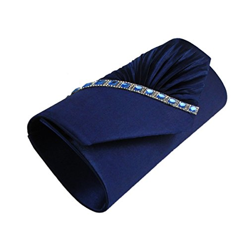 Clutch Blue Crystal Studded Womens Pleated Evening Satin Handbag AITING x10fqww