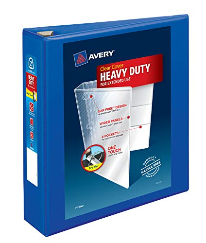 Avery Heavy Duty View 3 Ring Binder, 2 One Touch EZD Ring, Holds 8.5 x 11 Paper, 1 Pacific Blue Binder (79778)