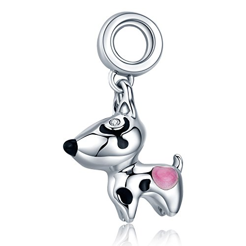 XingYue Jewelry 925 Sterling Silver Bulldog Bead Charms Puppy Dog Animal Vintage Charms Fit European Snake Chain Bracelet (Cut dog dangle charm)