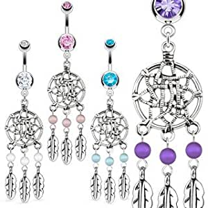 Stainless Steel Dream Catcher Net with Bead Based Feathers Fancy Navel Ring; Comes With Free Gift Box (Pink)