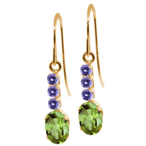 124-ct-oval-green-peridot-blue-tanzanite-10k-yellow-gold-earrings