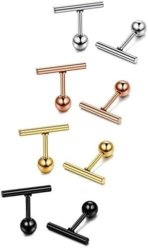 ORAZIO 4 Pairs Stainless Steel Stick Studs Earrings Cylinder Bar Stud Ear Piercing for Women Men 8-16mm