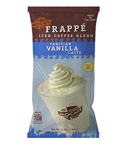 (MOCAFE Frappe Tahitian Vanilla Latte Ice Blended Coffee, 3-Pound Bag Instant Frappe Mix, Coffee House Style Blended Drink Used in Coffee Shops)