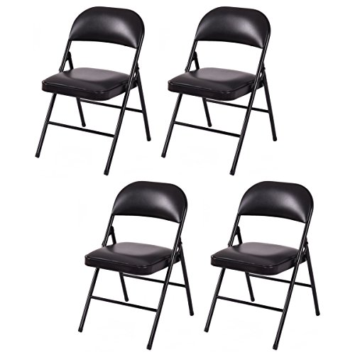 Giantex Set of 4 Folding Chairs Upholstered Padded Seat Metal Frame Home Office Black(Black)