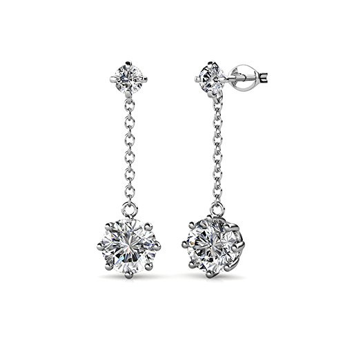 """Cate & Chloe Jessie """"Lively"""" 18K White Gold Swavorski Crystal, Beautiful Sparkle Round Diamond Cut Drop Earring Set, Wedding Anniversary Drop Dangle Earrings Hypoallergenic -MSRP $124.00 from Cate & Chloe"""