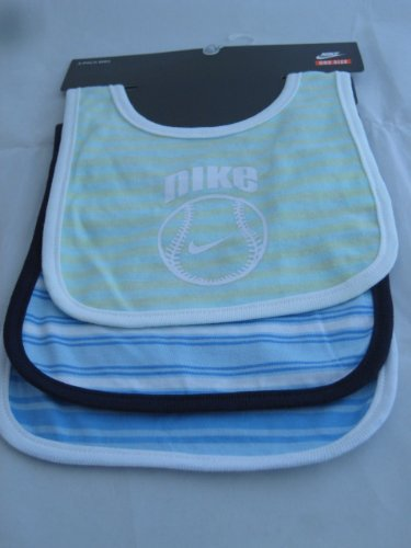 Nike New Born Baby Girl Boy 3 Pack Baby Bib Burp Infant Borwn, Green and Blue Different Pattern with
