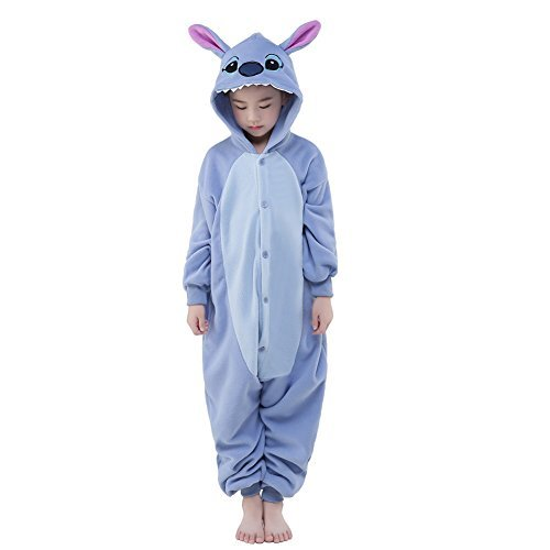 NEWCOSPLAY Halloween Unisex Animal Pyjamas Child Cosplay Costume (125, Stitch) -