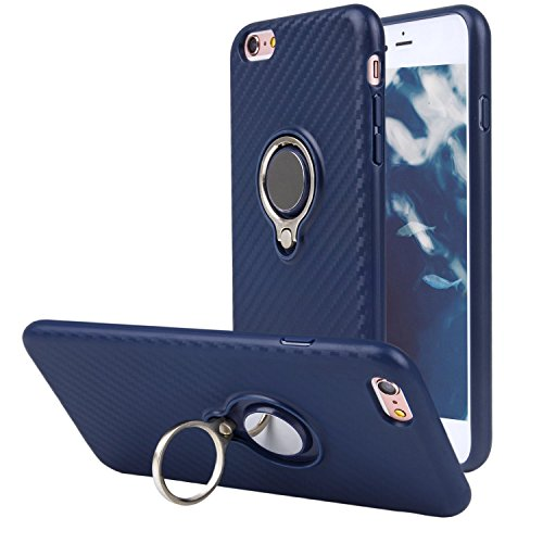 Price comparison product image iPhone case 6s Plus / 6 Plus with Ring Holder, WXY Anti-Slip Carbon Fiber Pattern Soft TPU and Magnetic Chuck Case for Apple iPhone 6s Plus / 6 Plus 5.5'',Fits for Car Mount Stand (Navy Blue)