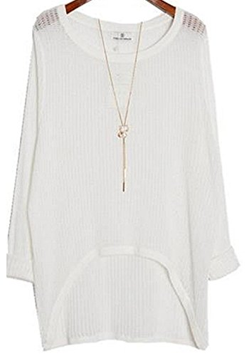 Alinfu Women's Casual Thin See Through Unbalance Knit Pullover Batwing Blouse Tops (Large, - Top Knit Batwing