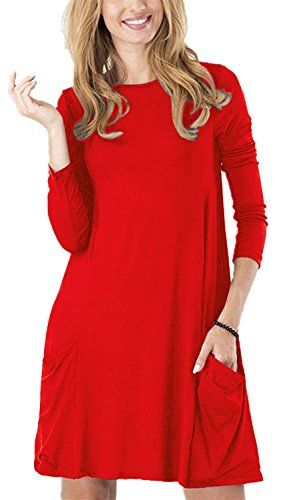 Beautiful Sexy Red Dress - TINYHI Women's Pockets Scoop Neck Casual Swing T-Shirt Tunic Loose Dresses(Red,M)