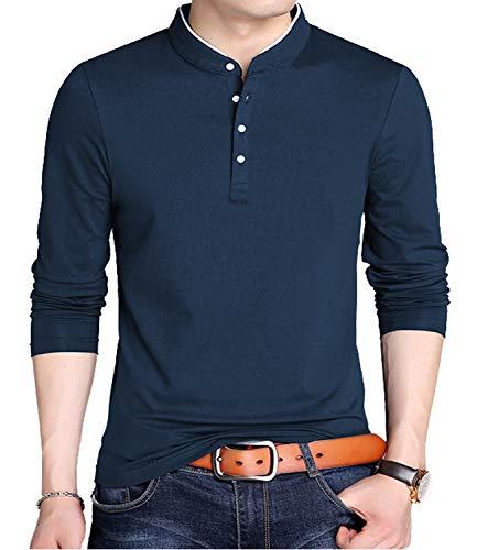 KUYIGO Men's Casual Slim Fit Shirts Long Sleeve Polo Shirts Cotton Shirts Medium - Athletic Button Henley Two