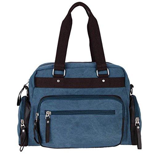 Canvas Weekender Bag Bolsas De Viaje Unisex Travel Holdall Handbag Bolsa De Trabajo Bandolera,Khaki SkyBlue