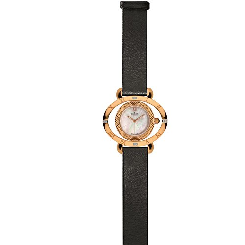 Charmex FLORENCE 6186 39x32.5mm Stainless Steel Case Black Calfskin Synthetic Sapphire Women's Watch
